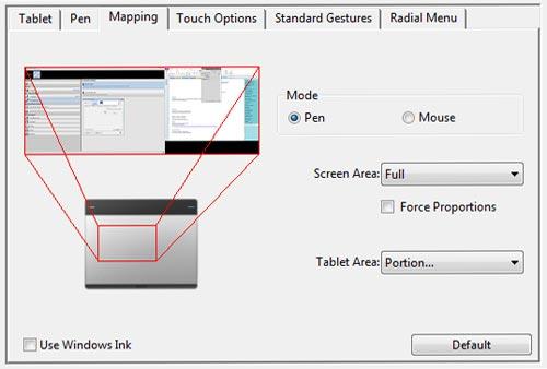 Wacom tablet active area control