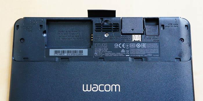 Wacom tablet rear compartment