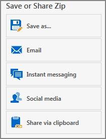 WinZip quick-share options