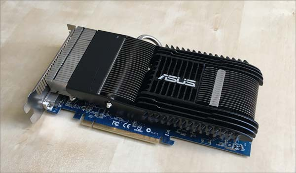 Asus passively cooled graphics card. Great for a quiet pc.