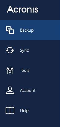 Acronis toolbar