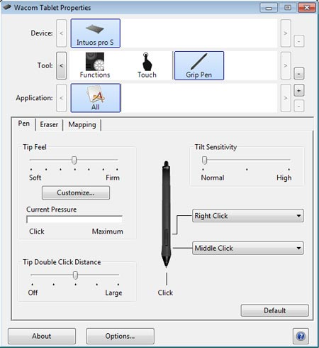 Wacom tablet pen settings