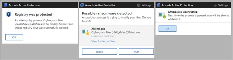 Acronis Ransomware alerts