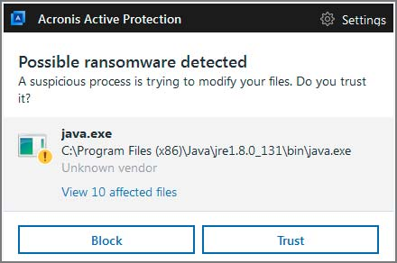 Example of ransomware detection